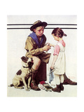 First Aid Lesson (or Scout Bandaging Girl's Finger) Reproduction procédé giclée par Norman Rockwell