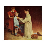 His First Day at School Giclee Print by Norman Rockwell