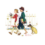 Young Love: Walking to School Giclee Print by Norman Rockwell