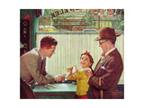 The Jewelry Shop (or Girl Trying on Jewelry) Giclee Print by Norman Rockwell