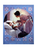 Mother Tucking Children into Bed Giclee Print by Norman Rockwell