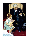 Doll Checkup (or Doll Pretending to Check up Doll) Giclee Print by Norman Rockwell