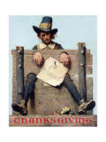 Thanksgiving-Ye Glutton (or Pilgrim in Stockade) Giclee Print by Norman Rockwell