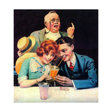 Sharing A Soda Giclee Print by Norman Rockwell