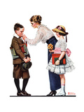 Mother Sending Children Off to School Giclee Print by Norman Rockwell