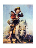 Off to School (or Boy and Girl on Horse) Giclee Print by Norman Rockwell