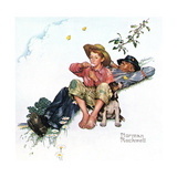 Grandpa and Me: Picking Daisies Giclee Print by Norman Rockwell