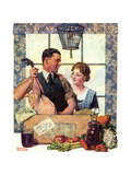 Couple Uncrating Turkey Giclee Print by Norman Rockwell