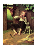 Barefoot Boy Playing Flute Giclee Print by Norman Rockwell