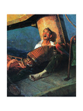 Home Sweet Home (or Man on ship with Accordion) Giclee Print by Norman Rockwell