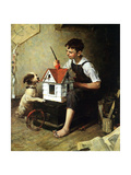 Painting the Little House Giclee Print by Norman Rockwell