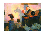 The Children's Hour (or Shadows on the Wall) Giclee Print by Norman Rockwell