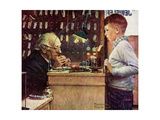 What Makes It Tick (or The Watchmaker) Giclée-tryk af Norman Rockwell