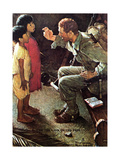 O'er the Land of the Free (or Soldier with Two Children) Giclee Print by Norman Rockwell