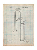 Slide Trombone Instrument Patent Art by Cole Borders