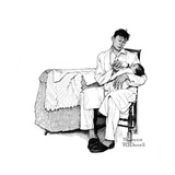 Father Feeding Infant Giclee Print by Norman Rockwell