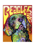 Beagle Love Giclee Print by Dean Russo