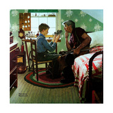 The Boy Who Put the World on Wheels (or The Inventor) Giclee Print by Norman Rockwell