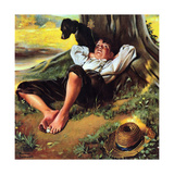 Barefoot Boy Daydreaming Giclee Print by Norman Rockwell