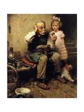 Cobbler Studying Doll's Shoe Giclée-tryk af Norman Rockwell