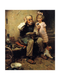 Cobbler Studying Doll's Shoe Giclee Print by Norman Rockwell