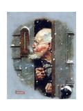 Man Reading Thermometer (or Fifteen Below Zero) Giclee-trykk av Norman Rockwell