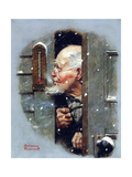Man Reading Thermometer (or Fifteen Below Zero) Giclee Print by Norman Rockwell
