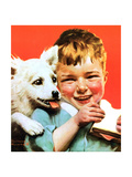 Laughing Boy with Sandwich and Puppy Giclee Print by Norman Rockwell