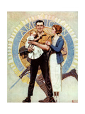 Carrying On (or Veteran with Wife and Child) Giclee Print by Norman Rockwell