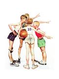 Four Sporting Boys: Basketball Giclée-trykk av Norman Rockwell