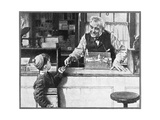 His First Pencil (or Boy and Shopkeeper) Giclée-tryk af Norman Rockwell