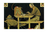 The U.S. Army Teaches Trades (or The Telegrapher) Giclee Print by Norman Rockwell