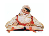 No Christmas Problem Now (or Santa with a Parker Pen) Giclee Print by Norman Rockwell