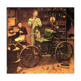 The Revolution that Started in a Shed at Night (or Henry Ford and the Horseless Carriage) Giclee Print by Norman Rockwell
