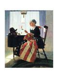Mending the Flag Giclée-tryk af Norman Rockwell