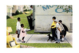 New Neighbors (or New Kids in the Neighborhood; Moving In) Giclée-Druck von Norman Rockwell
