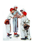 Four Sporting Boys: Baseball Giclee Print by Norman Rockwell