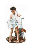 C-L-E-A-N (or Boy Drying Off after Bath) Giclee-trykk av Norman Rockwell