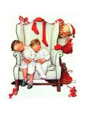 Santa Looking at Two Sleeping Children (or Santa Filling the Stockings) Giclee-trykk av Norman Rockwell