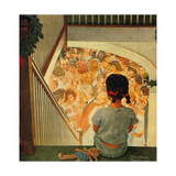 Little Girl Looking Downstairs at Christmas Party Giclee Print by Norman Rockwell