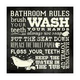 Bath Rules B&W Lámina giclée por Stephanie Marrott