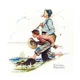 Grandpa and Me: Fishing Giclee Print by Norman Rockwell