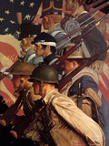 A Pictorial History of the United States Army (or To Make Men Free) Giclee Print by Norman Rockwell