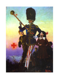 Uncle Sam Marching with Children Giclee Print by Norman Rockwell