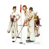 Four Sporting Boys: Golf Giclée-trykk av Norman Rockwell