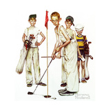 Four Sporting Boys: Golf Lámina giclée por Norman Rockwell