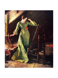 Treasures (or Lady in Green Dress; Attic Scene) Giclee Print by Norman Rockwell