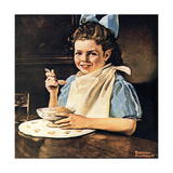 Cereal Bowl (or Girl with Blue Bow Eating Cereal) Giclee Print by Norman Rockwell