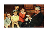 When the Doctor Treats Your Child (or Doctor Checking up Children) Giclee Print by Norman Rockwell
