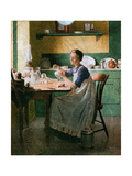 Fixing the lamp (or Woman in Kitchen) Giclee Print by Norman Rockwell